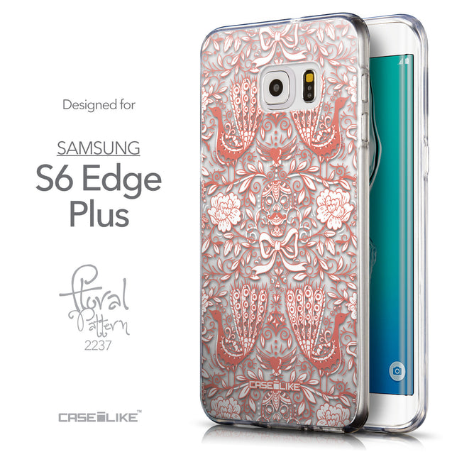 Front & Side View - CASEiLIKE Samsung Galaxy S6 Edge Plus back cover Roses Ornamental Skulls Peacocks 2237