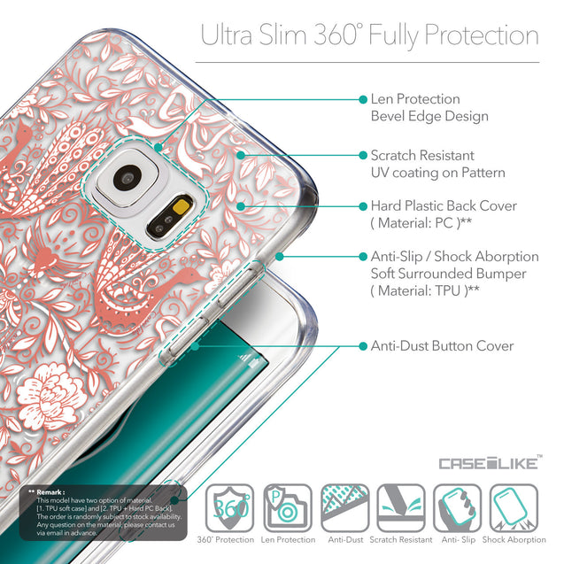 Details in English - CASEiLIKE Samsung Galaxy S6 Edge Plus back cover Roses Ornamental Skulls Peacocks 2237