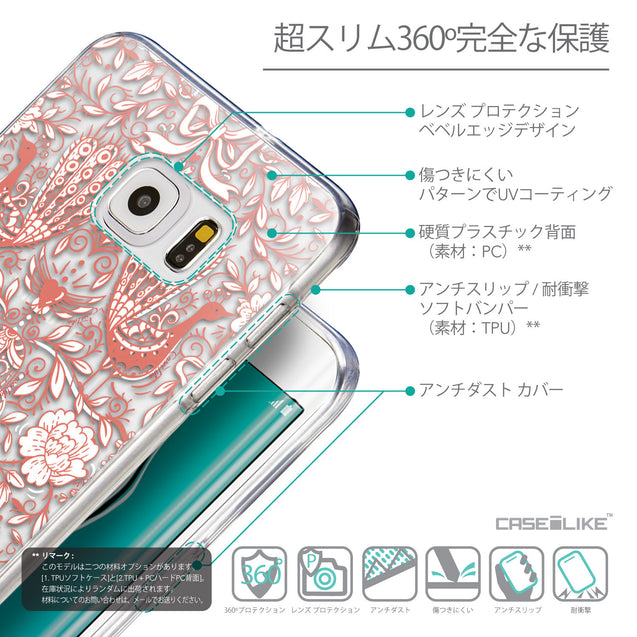 Details in Japanese - CASEiLIKE Samsung Galaxy S6 Edge Plus back cover Roses Ornamental Skulls Peacocks 2237