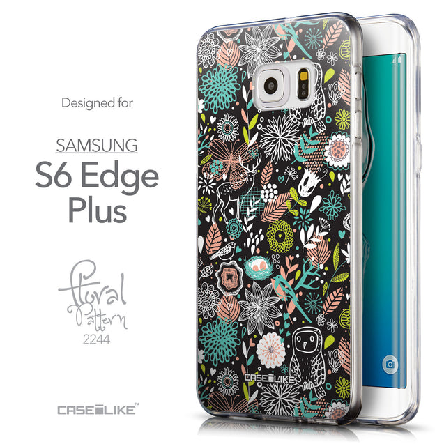 Front & Side View - CASEiLIKE Samsung Galaxy S6 Edge Plus back cover Spring Forest Black 2244