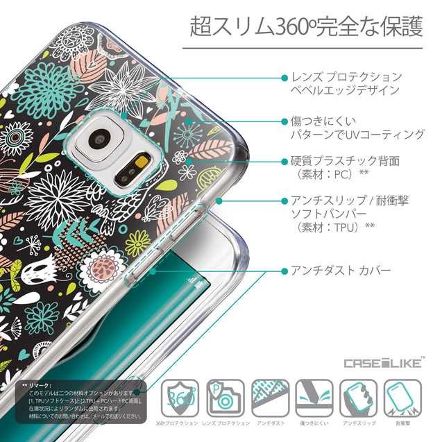 Details in Japanese - CASEiLIKE Samsung Galaxy S6 Edge Plus back cover Spring Forest Black 2244