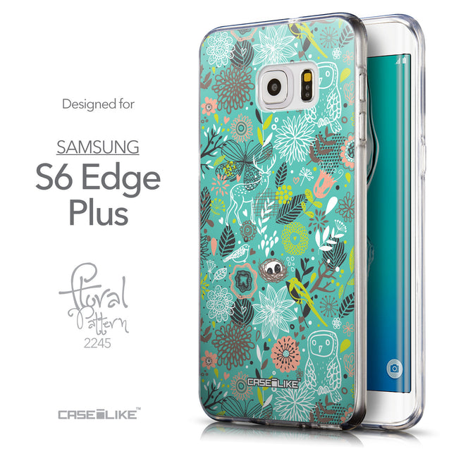 Front & Side View - CASEiLIKE Samsung Galaxy S6 Edge Plus back cover Spring Forest Turquoise 2245