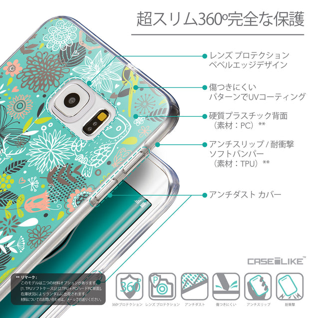 Details in Japanese - CASEiLIKE Samsung Galaxy S6 Edge Plus back cover Spring Forest Turquoise 2245