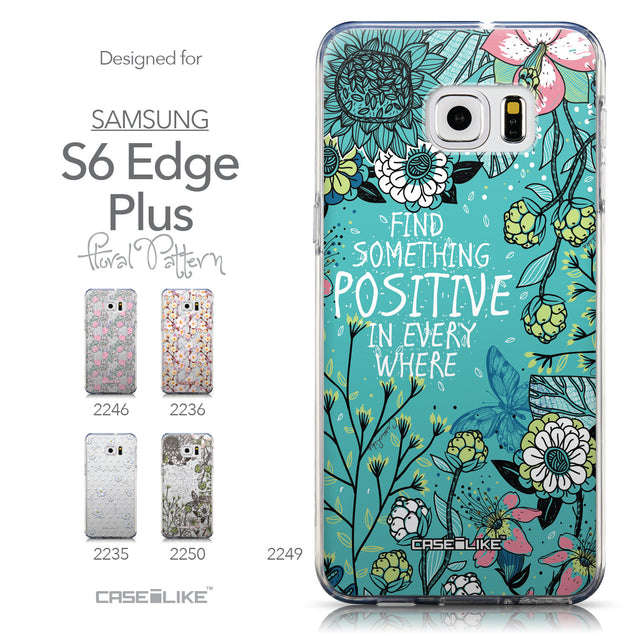 Collection - CASEiLIKE Samsung Galaxy S6 Edge Plus back cover Blooming Flowers Turquoise 2249