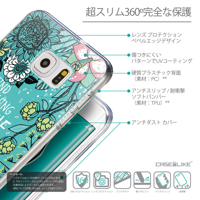 Details in Japanese - CASEiLIKE Samsung Galaxy S6 Edge Plus back cover Blooming Flowers Turquoise 2249