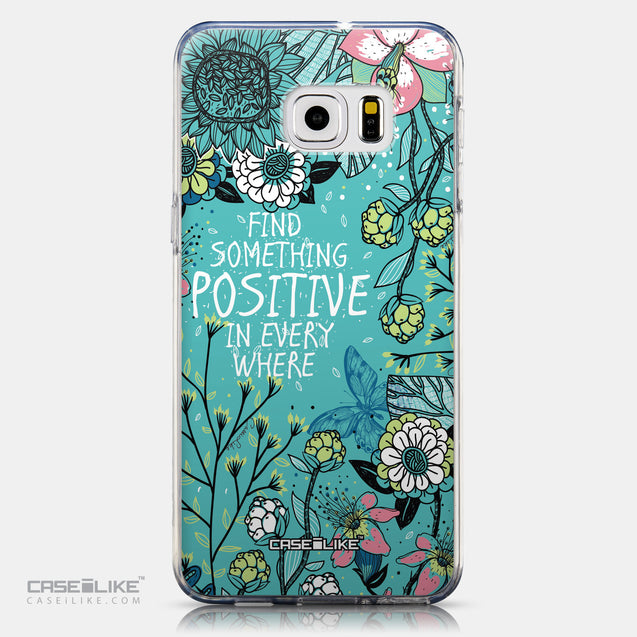 CASEiLIKE Samsung Galaxy S6 Edge Plus back cover Blooming Flowers Turquoise 2249