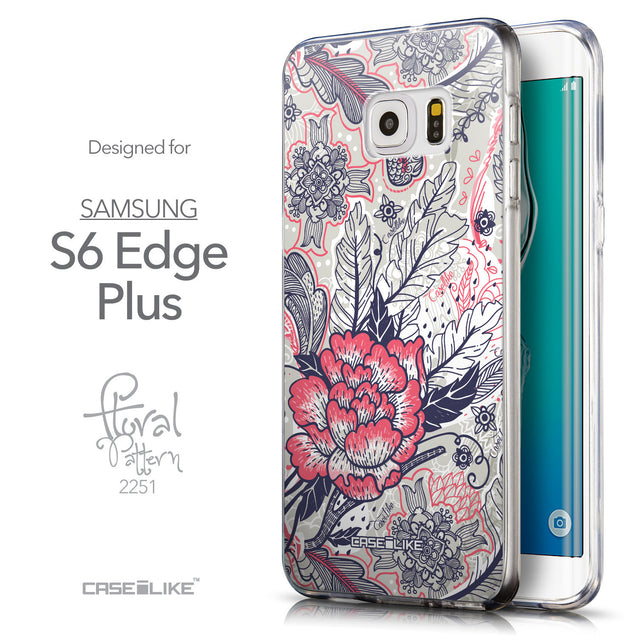 Front & Side View - CASEiLIKE Samsung Galaxy S6 Edge Plus back cover Vintage Roses and Feathers Beige 2251