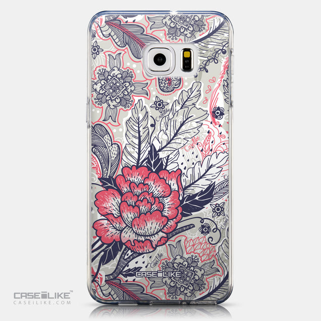 CASEiLIKE Samsung Galaxy S6 Edge Plus back cover Vintage Roses and Feathers Beige 2251