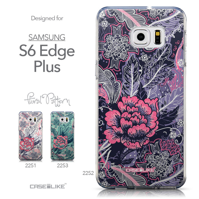 Collection - CASEiLIKE Samsung Galaxy S6 Edge Plus back cover Vintage Roses and Feathers Blue 2252