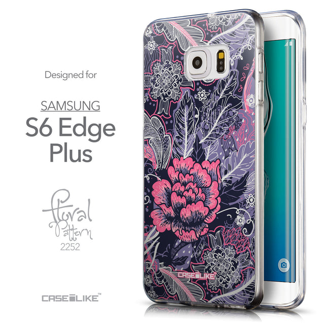 Front & Side View - CASEiLIKE Samsung Galaxy S6 Edge Plus back cover Vintage Roses and Feathers Blue 2252
