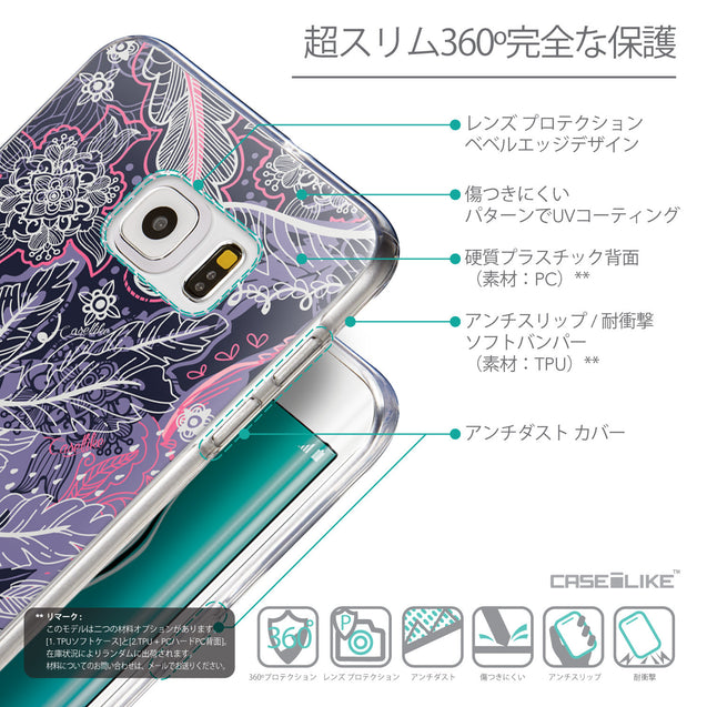 Details in Japanese - CASEiLIKE Samsung Galaxy S6 Edge Plus back cover Vintage Roses and Feathers Blue 2252