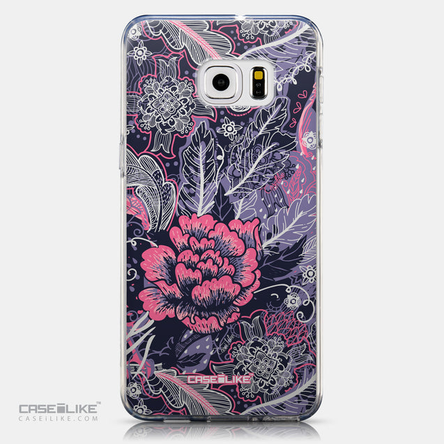 CASEiLIKE Samsung Galaxy S6 Edge Plus back cover Vintage Roses and Feathers Blue 2252