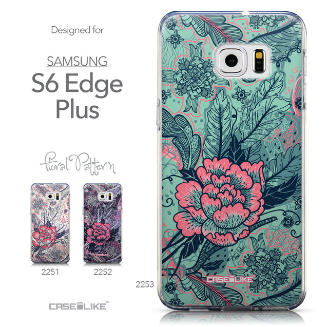 Collection - CASEiLIKE Samsung Galaxy S6 Edge Plus back cover Vintage Roses and Feathers Turquoise 2253