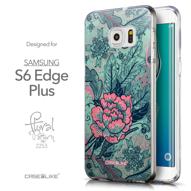 Front & Side View - CASEiLIKE Samsung Galaxy S6 Edge Plus back cover Vintage Roses and Feathers Turquoise 2253