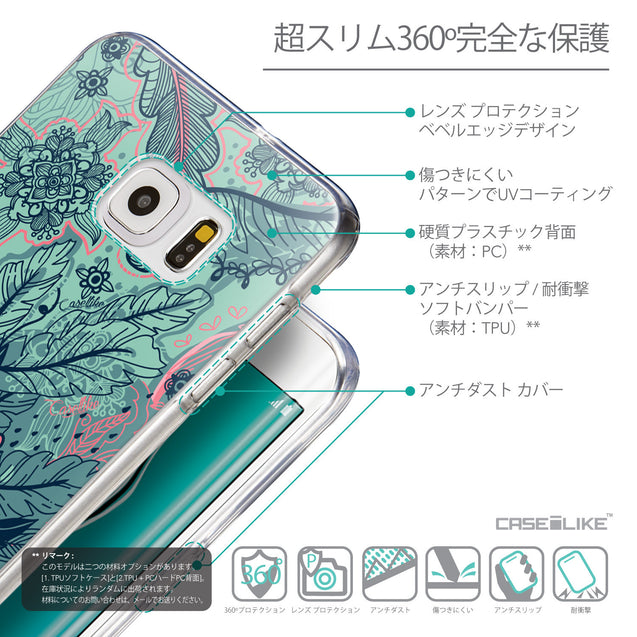 Details in Japanese - CASEiLIKE Samsung Galaxy S6 Edge Plus back cover Vintage Roses and Feathers Turquoise 2253