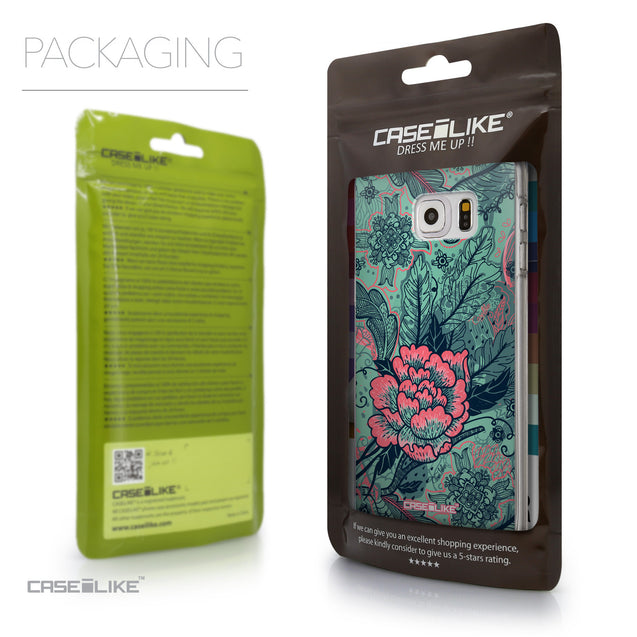 Packaging - CASEiLIKE Samsung Galaxy S6 Edge Plus back cover Vintage Roses and Feathers Turquoise 2253