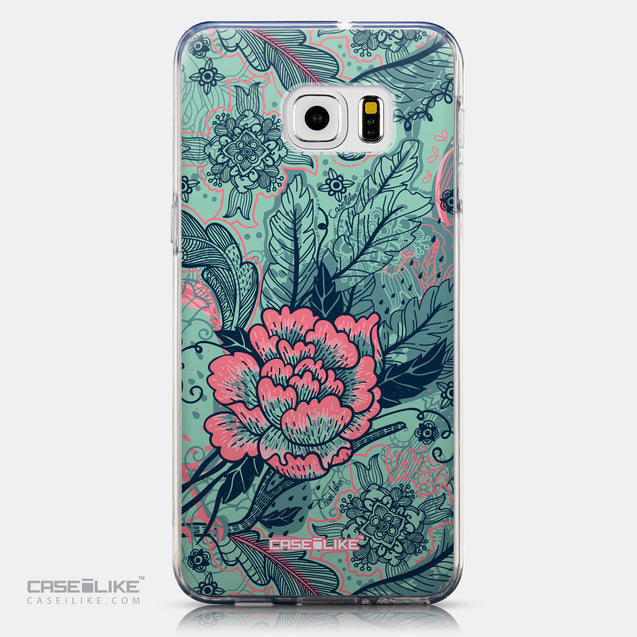 CASEiLIKE Samsung Galaxy S6 Edge Plus back cover Vintage Roses and Feathers Turquoise 2253