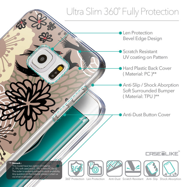 Details in English - CASEiLIKE Samsung Galaxy S6 Edge Plus back cover Japanese Floral 2254