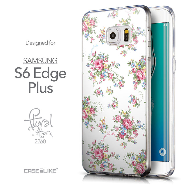 Front & Side View - CASEiLIKE Samsung Galaxy S6 Edge Plus back cover Floral Rose Classic 2260