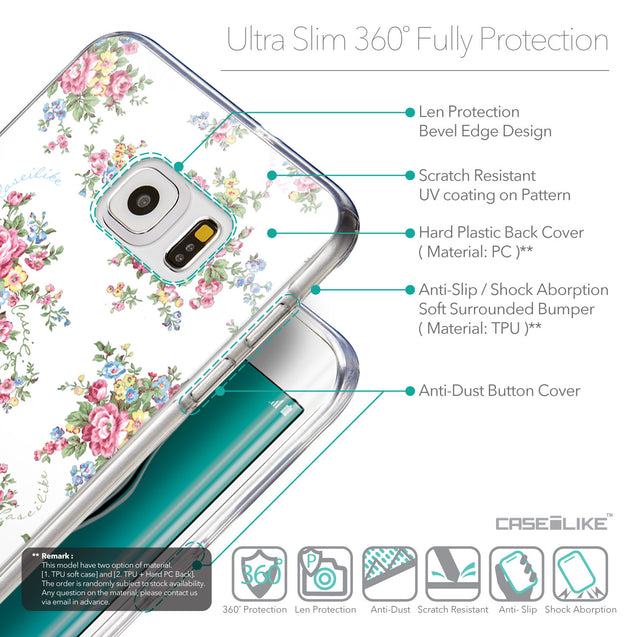 Details in English - CASEiLIKE Samsung Galaxy S6 Edge Plus back cover Floral Rose Classic 2260