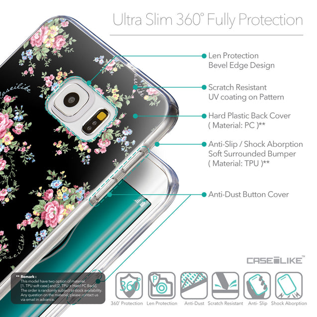 Details in English - CASEiLIKE Samsung Galaxy S6 Edge Plus back cover Floral Rose Classic 2261