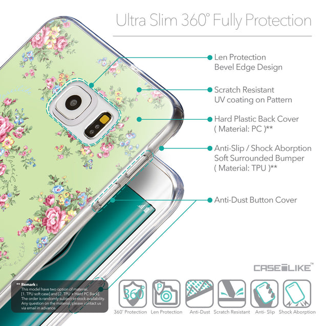 Details in English - CASEiLIKE Samsung Galaxy S6 Edge Plus back cover Floral Rose Classic 2262