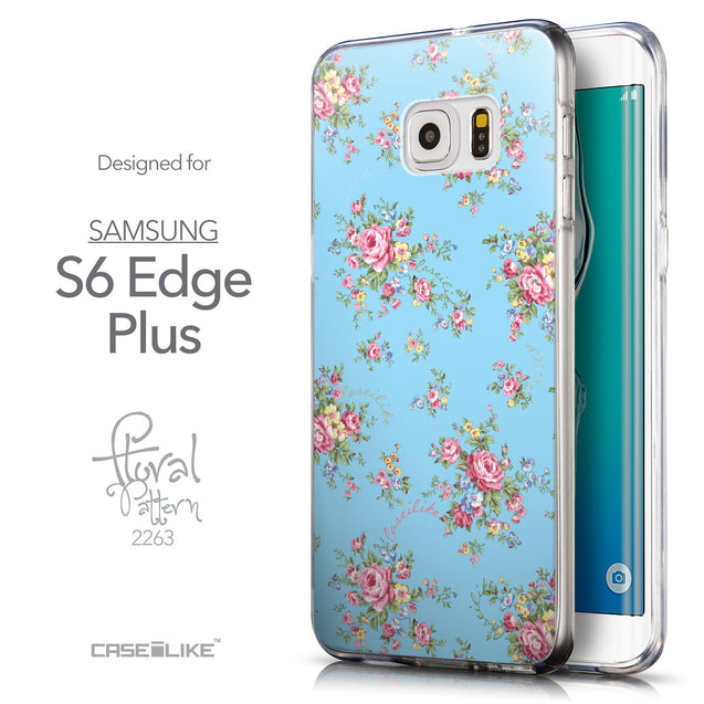 Front & Side View - CASEiLIKE Samsung Galaxy S6 Edge Plus back cover Floral Rose Classic 2263