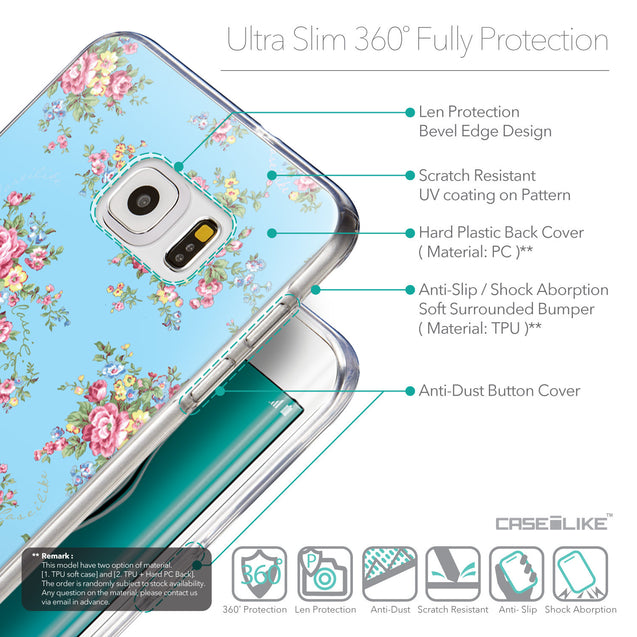 Details in English - CASEiLIKE Samsung Galaxy S6 Edge Plus back cover Floral Rose Classic 2263