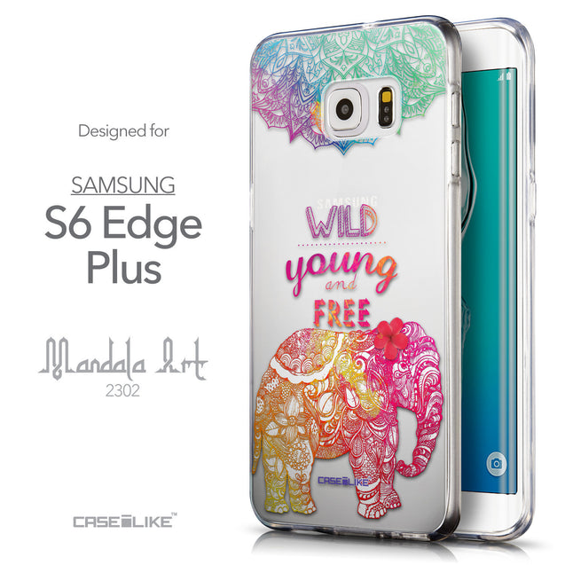 Front & Side View - CASEiLIKE Samsung Galaxy S6 Edge Plus back cover Mandala Art 2302