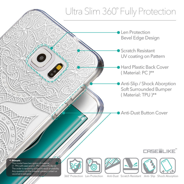 Details in English - CASEiLIKE Samsung Galaxy S6 Edge Plus back cover Mandala Art 2303