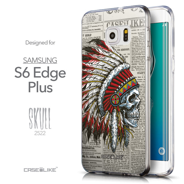 Front & Side View - CASEiLIKE Samsung Galaxy S6 Edge Plus back cover Art of Skull 2522