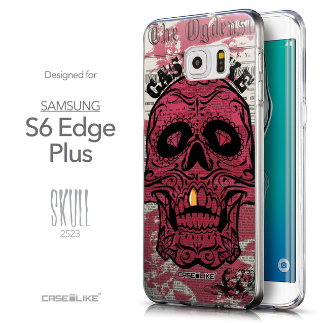 Front & Side View - CASEiLIKE Samsung Galaxy S6 Edge Plus back cover Art of Skull 2523