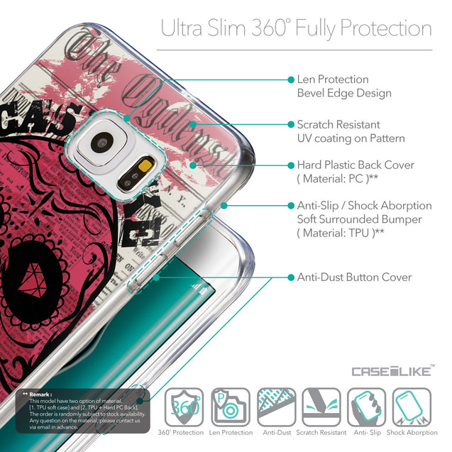 Details in English - CASEiLIKE Samsung Galaxy S6 Edge Plus back cover Art of Skull 2523