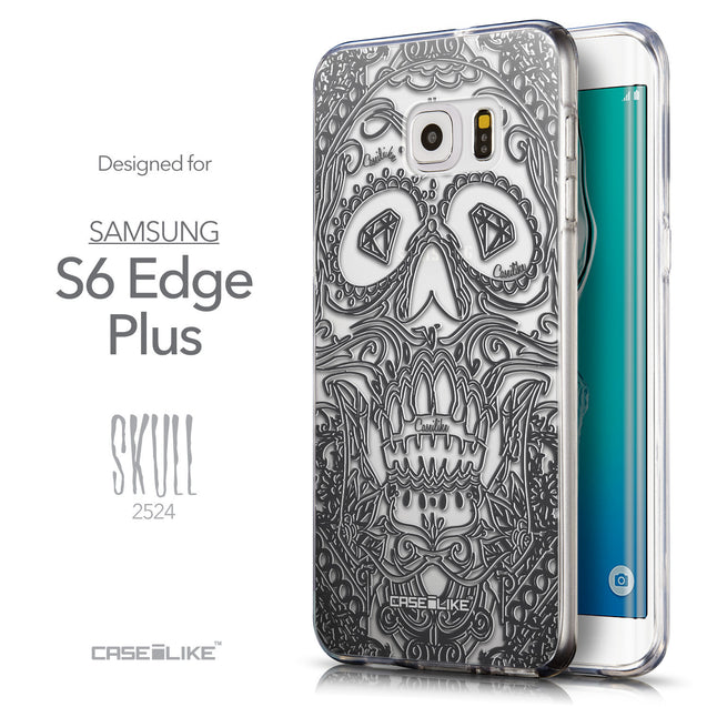 Front & Side View - CASEiLIKE Samsung Galaxy S6 Edge Plus back cover Art of Skull 2524