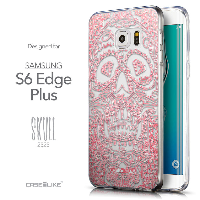 Front & Side View - CASEiLIKE Samsung Galaxy S6 Edge Plus back cover Art of Skull 2525
