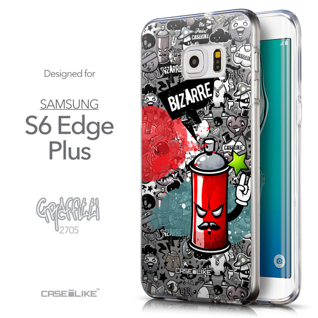Front & Side View - CASEiLIKE Samsung Galaxy S6 Edge Plus back cover Graffiti 2705