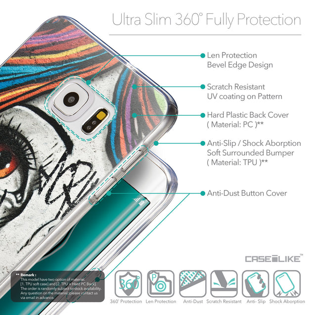 Details in English - CASEiLIKE Samsung Galaxy S6 Edge Plus back cover Graffiti Girl 2724