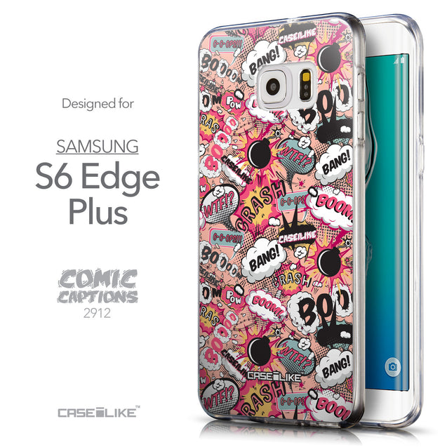 Front & Side View - CASEiLIKE Samsung Galaxy S6 Edge Plus back cover Comic Captions Pink 2912