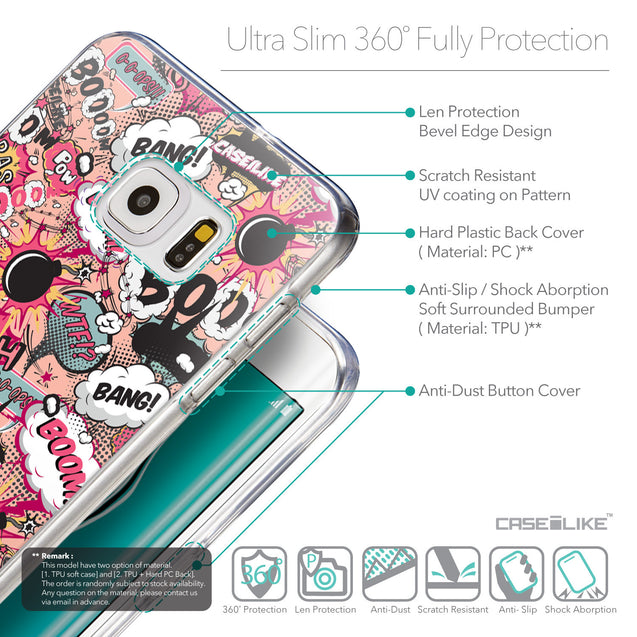 Details in English - CASEiLIKE Samsung Galaxy S6 Edge Plus back cover Comic Captions Pink 2912