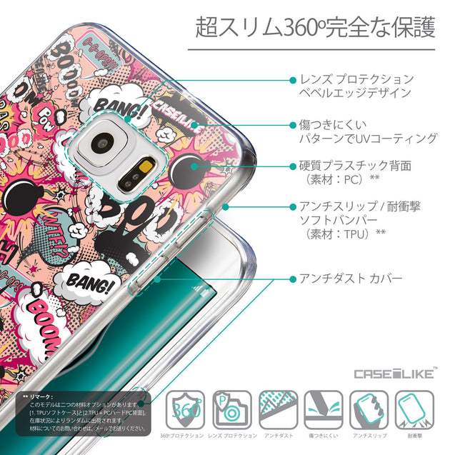 Details in Japanese - CASEiLIKE Samsung Galaxy S6 Edge Plus back cover Comic Captions Pink 2912