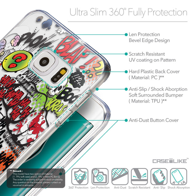 Details in English - CASEiLIKE Samsung Galaxy S6 Edge Plus back cover Comic Captions 2914