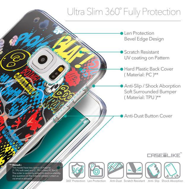 Details in English - CASEiLIKE Samsung Galaxy S6 Edge Plus back cover Comic Captions Black 2915