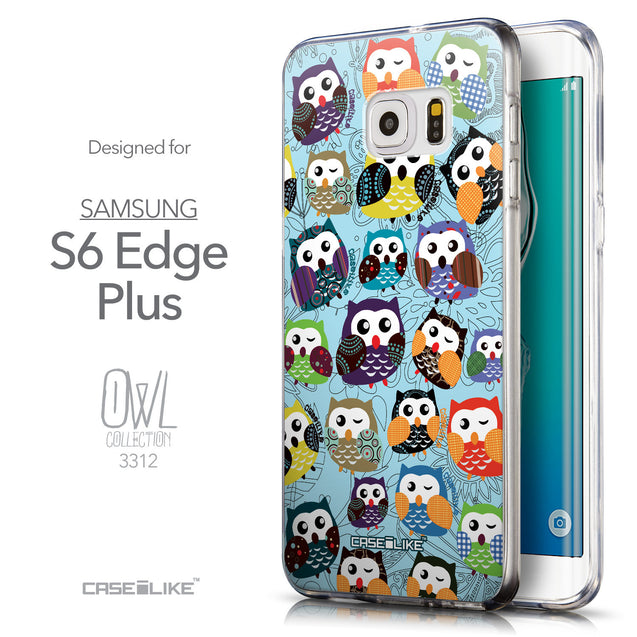 Front & Side View - CASEiLIKE Samsung Galaxy S6 Edge Plus back cover Owl Graphic Design 3312
