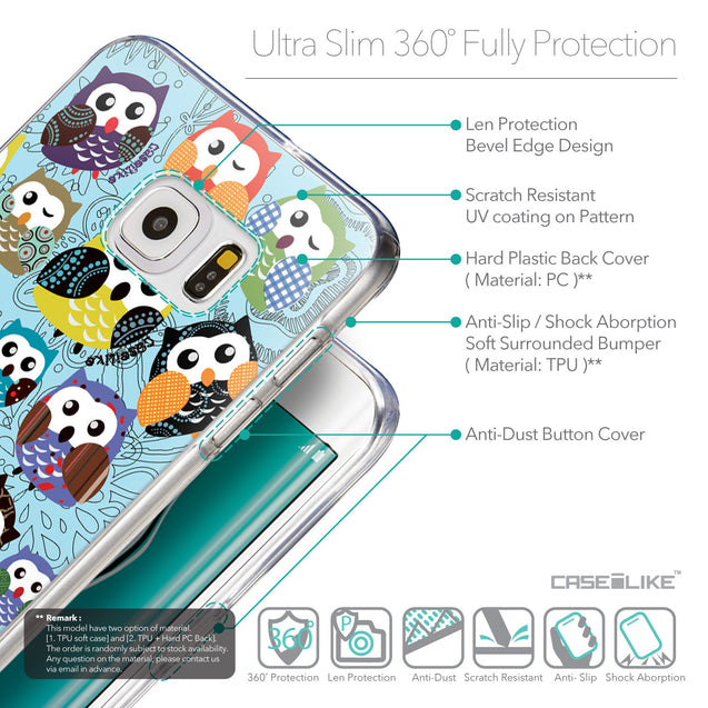 Details in English - CASEiLIKE Samsung Galaxy S6 Edge Plus back cover Owl Graphic Design 3312