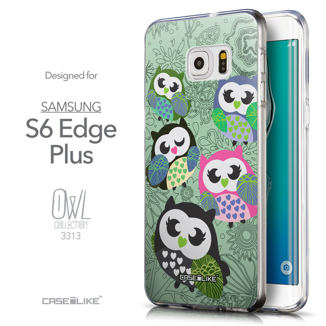Front & Side View - CASEiLIKE Samsung Galaxy S6 Edge Plus back cover Owl Graphic Design 3313