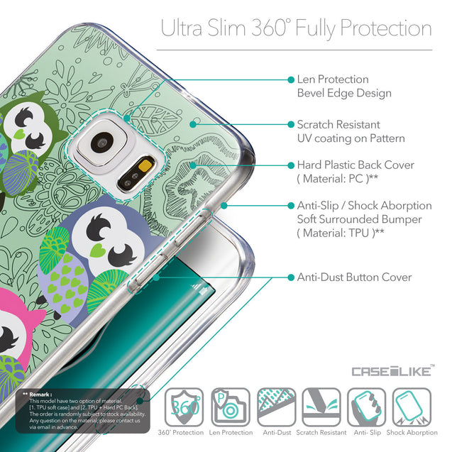 Details in English - CASEiLIKE Samsung Galaxy S6 Edge Plus back cover Owl Graphic Design 3313