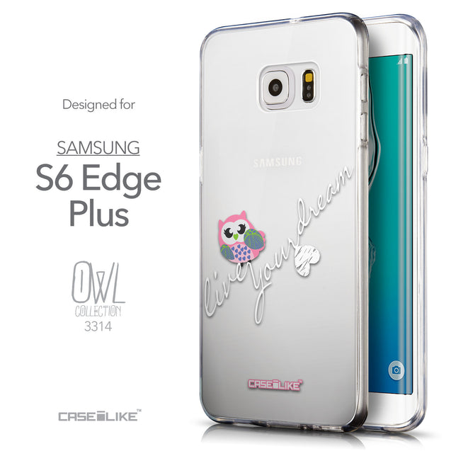 Front & Side View - CASEiLIKE Samsung Galaxy S6 Edge Plus back cover Owl Graphic Design 3314