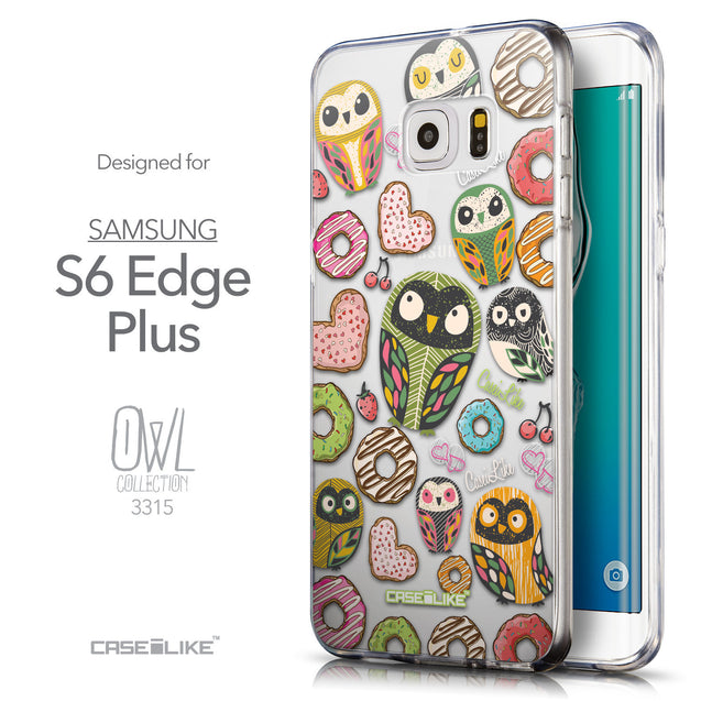 Front & Side View - CASEiLIKE Samsung Galaxy S6 Edge Plus back cover Owl Graphic Design 3315
