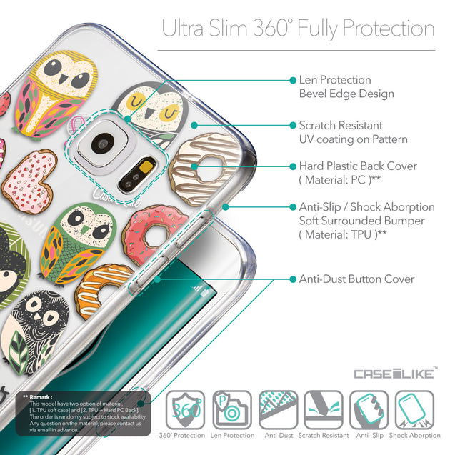 Details in English - CASEiLIKE Samsung Galaxy S6 Edge Plus back cover Owl Graphic Design 3315