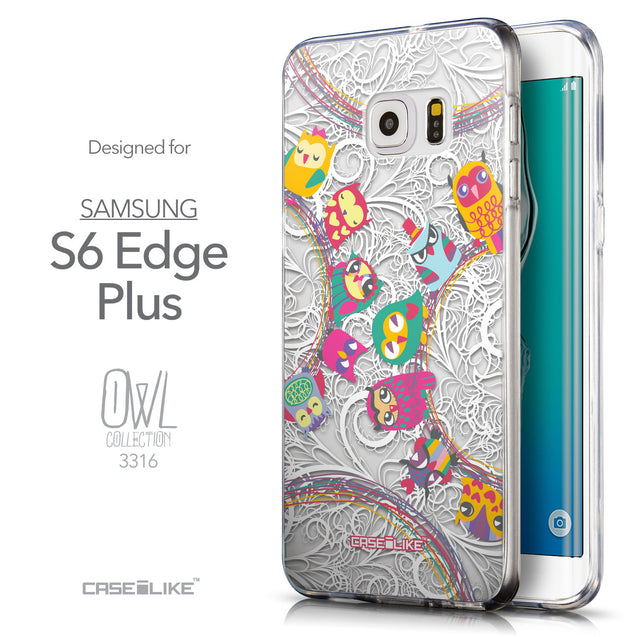 Front & Side View - CASEiLIKE Samsung Galaxy S6 Edge Plus back cover Owl Graphic Design 3316